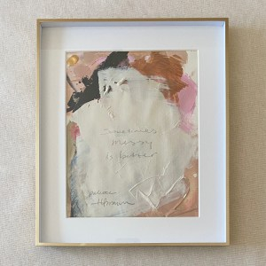 Framed acrylic paint palette from painting Sometimes Messy is Better painted by Dallas, Texas artist Hannah Brown.