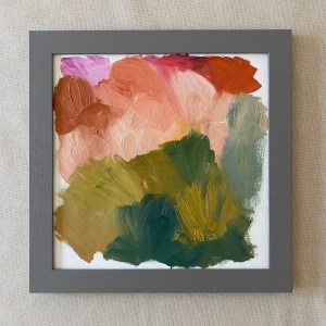 Framed painting of Santa Fe abstract oil painting by Dallas, Texas artist Hannah Brown