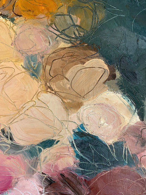 Detail of oil paint palette that resembles abstract roses painted by Dallas, Texas artist Hannah Brown.