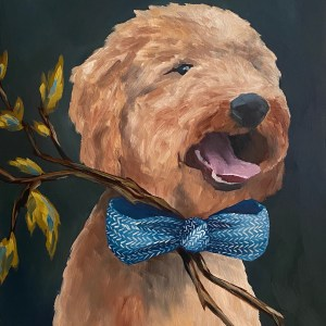 Dog portrait of a golden doodle with a dark green blue background with a stick with leaves tucked into the blue bow tie painted by Dallas, Texas artist and oil painted Hannah Brown.