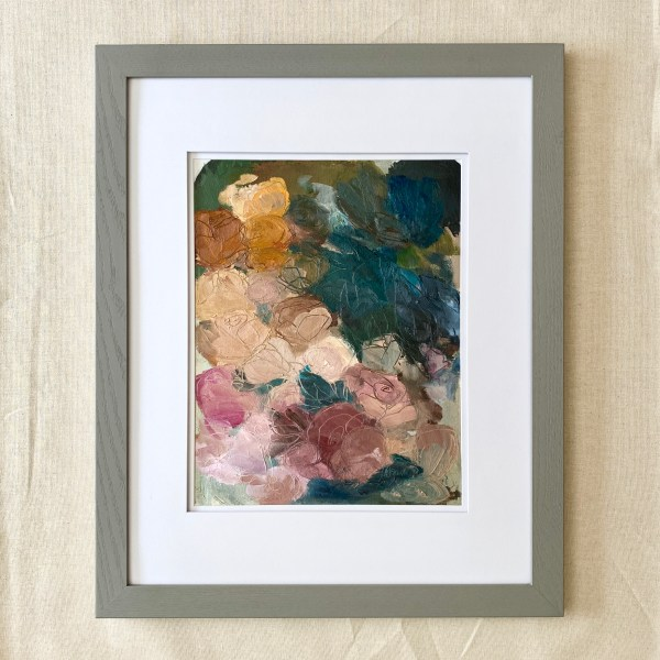 Oil paint palette that resembles abstract roses painted by Dallas, Texas artist Hannah Brown.
