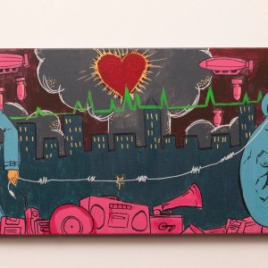 Acrylic painting of two figures. On the the right is a blue figure wearing headphones, the right is a man holding the end of the cord to the earphones. They are standing in a field of pink electronic clutter. Behind the two figures is a city scape being bombed by pink zeppelins, with a heart shaped mushroom cloud.