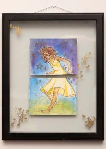 a girl in a green dress runs through a field of stars