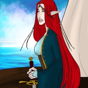 An elf with long red hair holds a sword on a boat