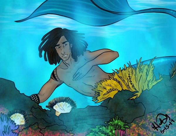 A merman swims in a reef
