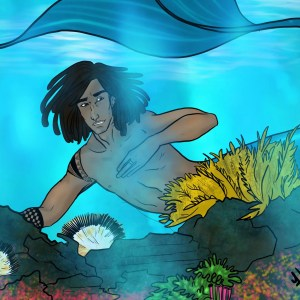 A merman swims in a reef
