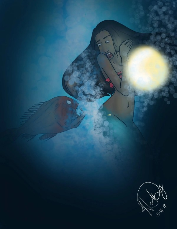 A mermaid looks frightened by a pilot fish