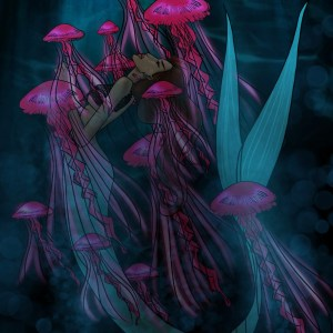 A mermaid inn a dark ocean is surrounded by pink jelly fish