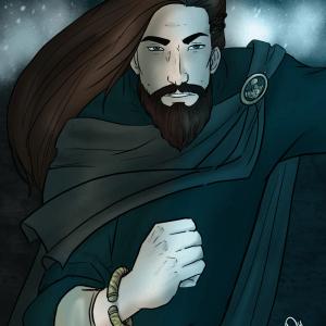 A viking man runs forward in a snow storm