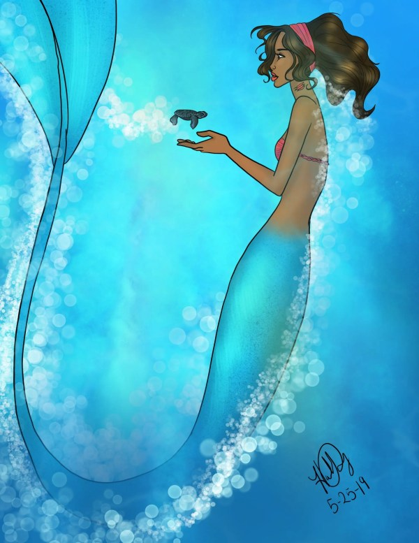 A mermaid holds a baby sea turtle