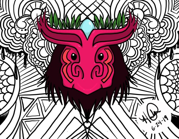 A pink mask with green leaves on it's head and a blue robins egg between it's horns.