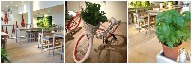 3 images of vapiano manchester, tables, bike and plant