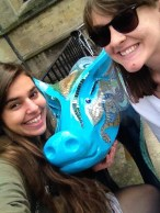 We didn't have Anne to complete our Plastics trifecta so we took a picture with this pig in her honor