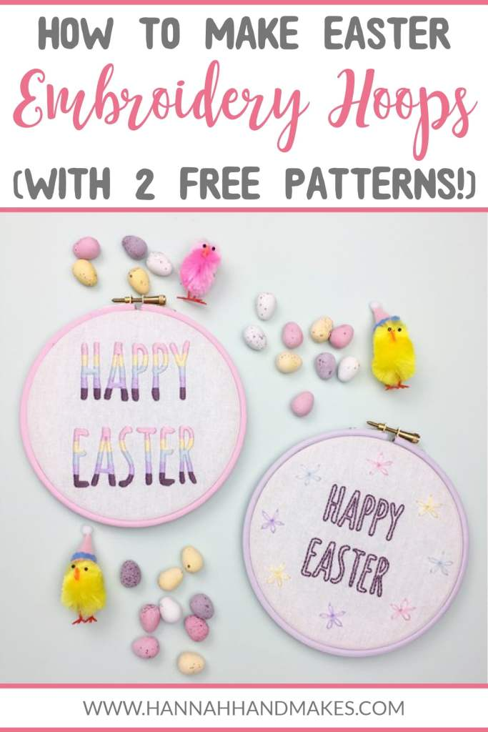 Today I am happy to share a guest post from Clare at Hello!Hooray! on how to stitch 2 Easter embroidery hoops. You can also download 2 free Easter embroidery patterns so you can get stitching straight away! #eastercrafts #diycrafts #hannahhandmakes