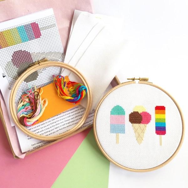 ice-cream-cross-stitch-kit-supplies