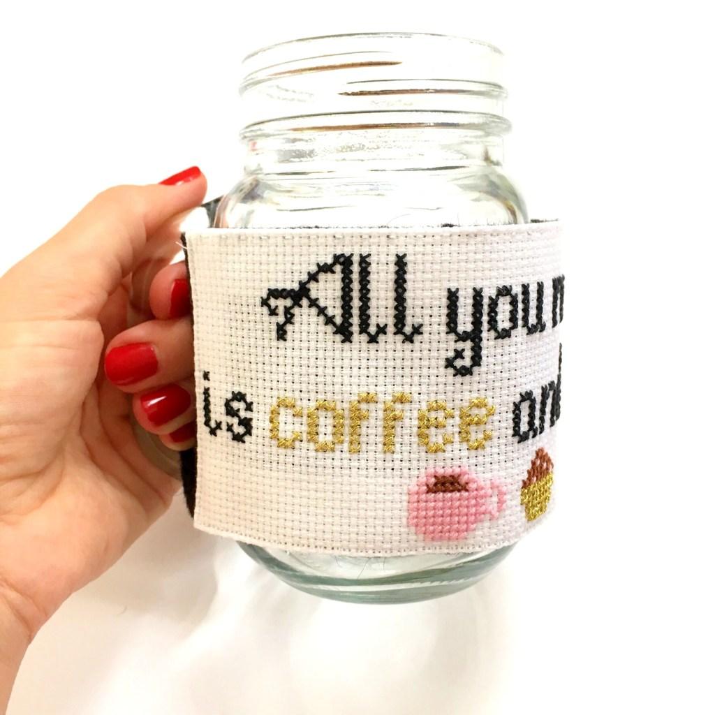 cross-stitch-mug-cosy-on-mason-jar