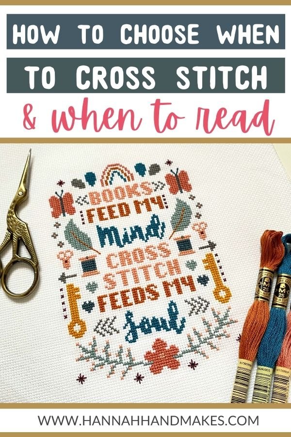 cross stitch and reading routine with scissors and dmc threads