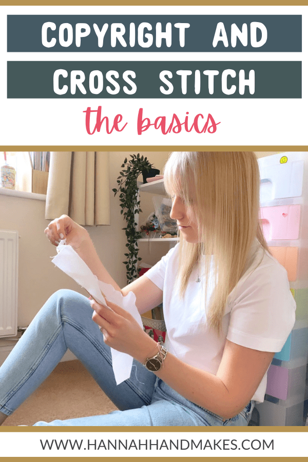 copyright and cross stitch pin image with girl sitting on floor scross stitching