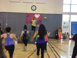 "Zumba ladies cheer and chant to welcome their, ""latino hotty"".Saturday, February 18, 2017."