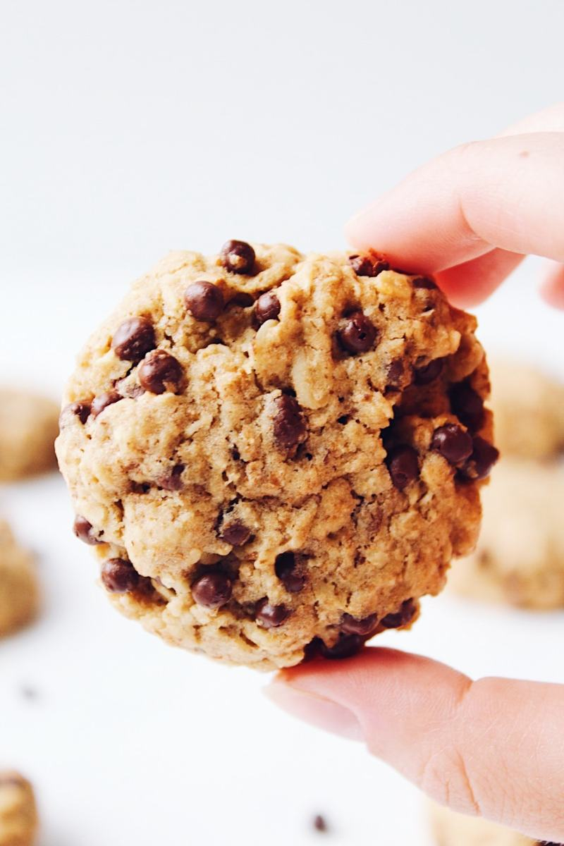 Chewy Vegan Oatmeal Cookies by Hannah Magee RD. These vegan oatmeal cookies are a better-for-you take on the traditional oatmeal cookie. They're sweet and chewy with half the sugar and whole grains.