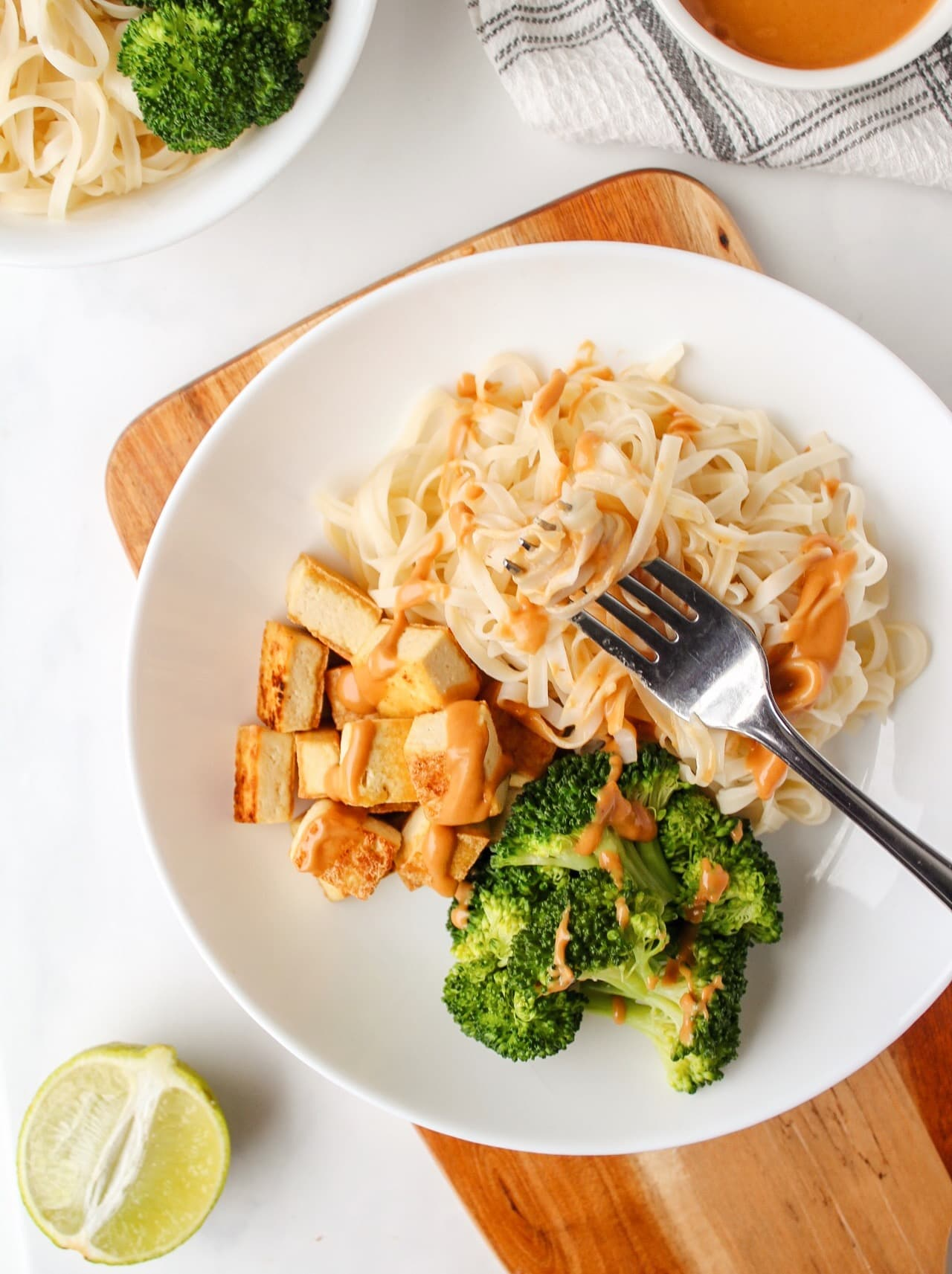 15-Minute Crispy Tofu Noodle Bowl with Peanut Lime Sauce