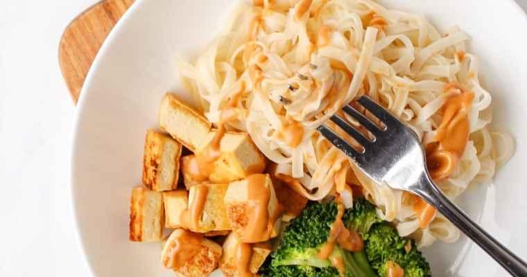 15-Minute Crispy Tofu Noodle Bowl with Peanut Lime Sauce