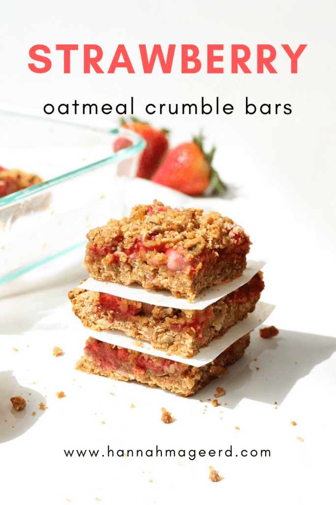 Enjoy one of these Strawberry Crumble Bars as an on-the-go breakfast or topped with ice cream for a sweet treat.