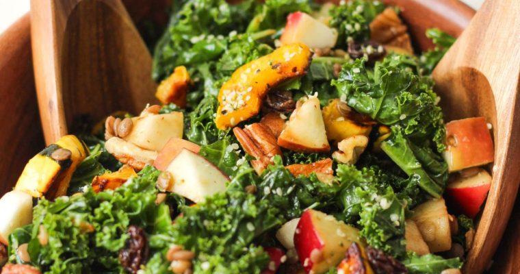 Autumn Kale Salad with Maple Balsamic Vinaigrette