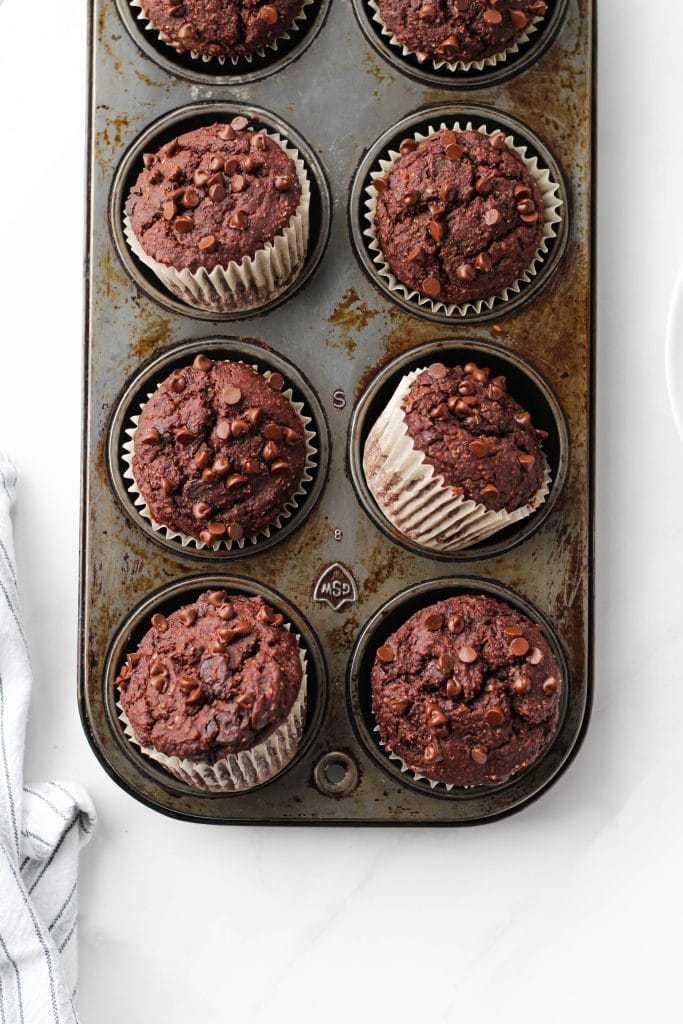 These Healthy Double Chocolate Muffins look fudgy and decadent but are full of good-for-you ingredients. Plus, it all comes together in one bowl!
