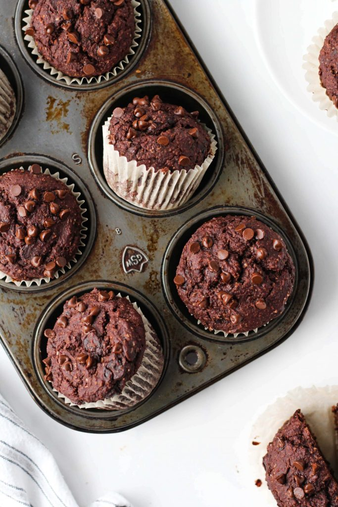 These oil-free Healthy Double Chocolate Muffins look fudgy and decadent but are full of good-for-you ingredients. Plus, it's a one-bowl recipe!