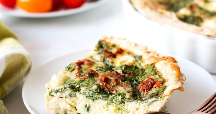 Spinach Quiche with Sun-dried Tomato and Feta