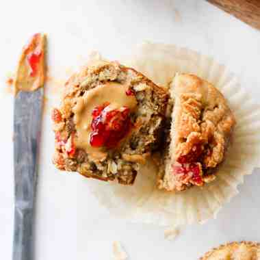 Try these filling Oatmeal Peanut Butter Muffins with a jam swirl for breakfast or snack! Packed with fibre and healthy fats to keep you full and energized.
