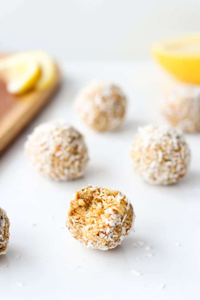These Lemon Coconut Energy Balls are a flavourful, nutritious snack to keep you feeling full + energized in between meals. They're vegan and gluten-free too!