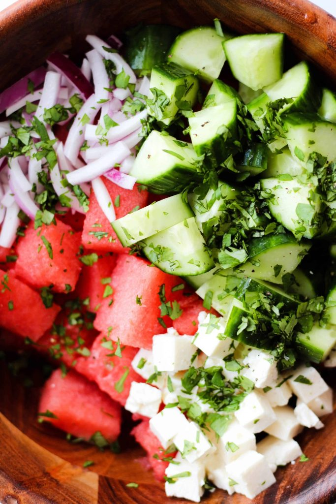 Watermelon Feta Salad with cucumber, red onion and cilantro