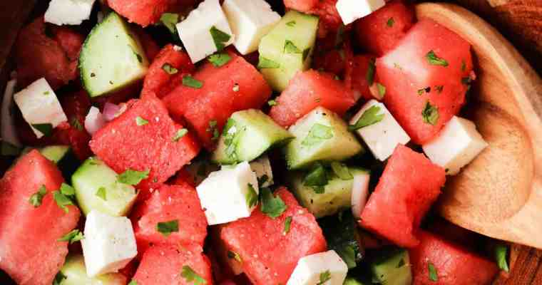 Watermelon Feta Salad with Cucumber