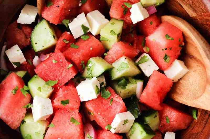 Watermelon Feta Salad with cucumber, cilantro and lime juice