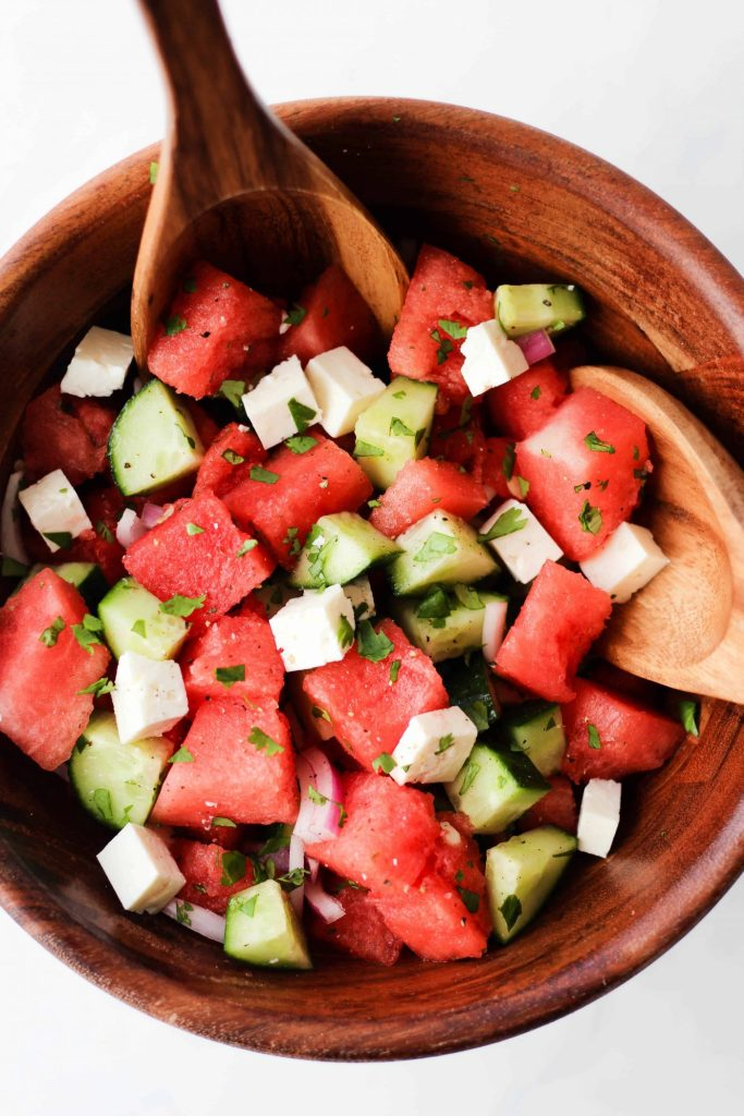 Refreshing Watermelon Feta Salad with cucumber, cilantro and lime juice