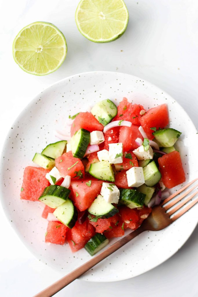 Watermelon Feta Salad with cucumber, red onion, cilantro and lime juice