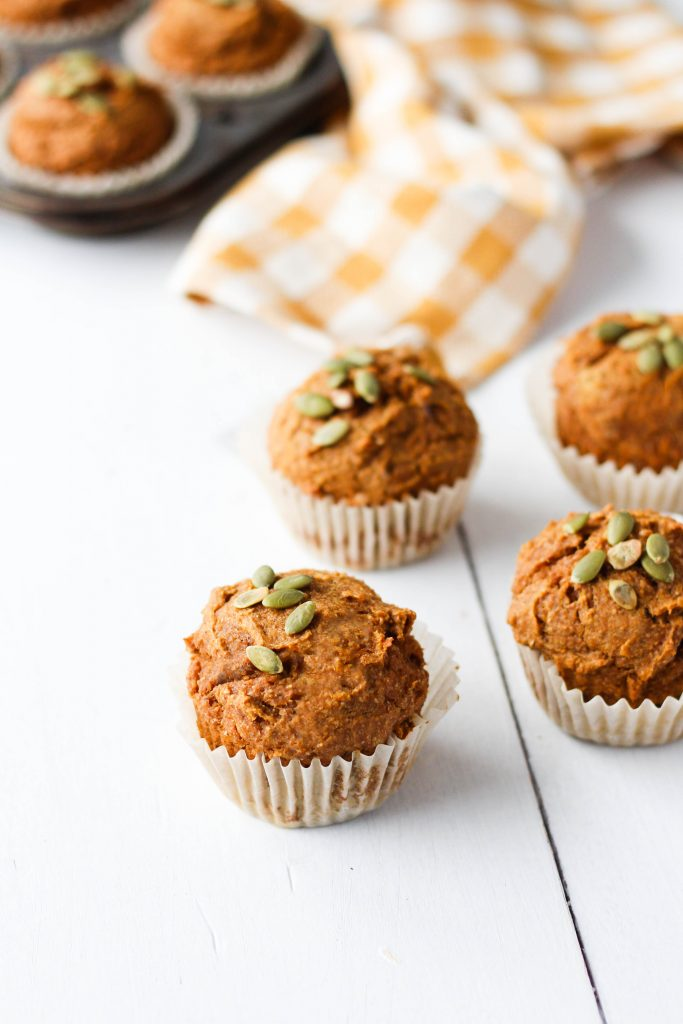 These healthy whole wheat pumpkin muffins are perfectly spiced, fluffy and totally vegan! Pair with coffee or tea for the perfect fall snack.