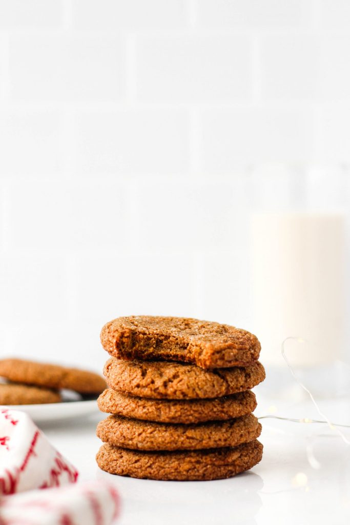 Your new favourite cookie recipe! Slightly crisp on the outside, chewy on the inside, and spiced just right - you won't be able to tell that these are healthy ginger cookies!