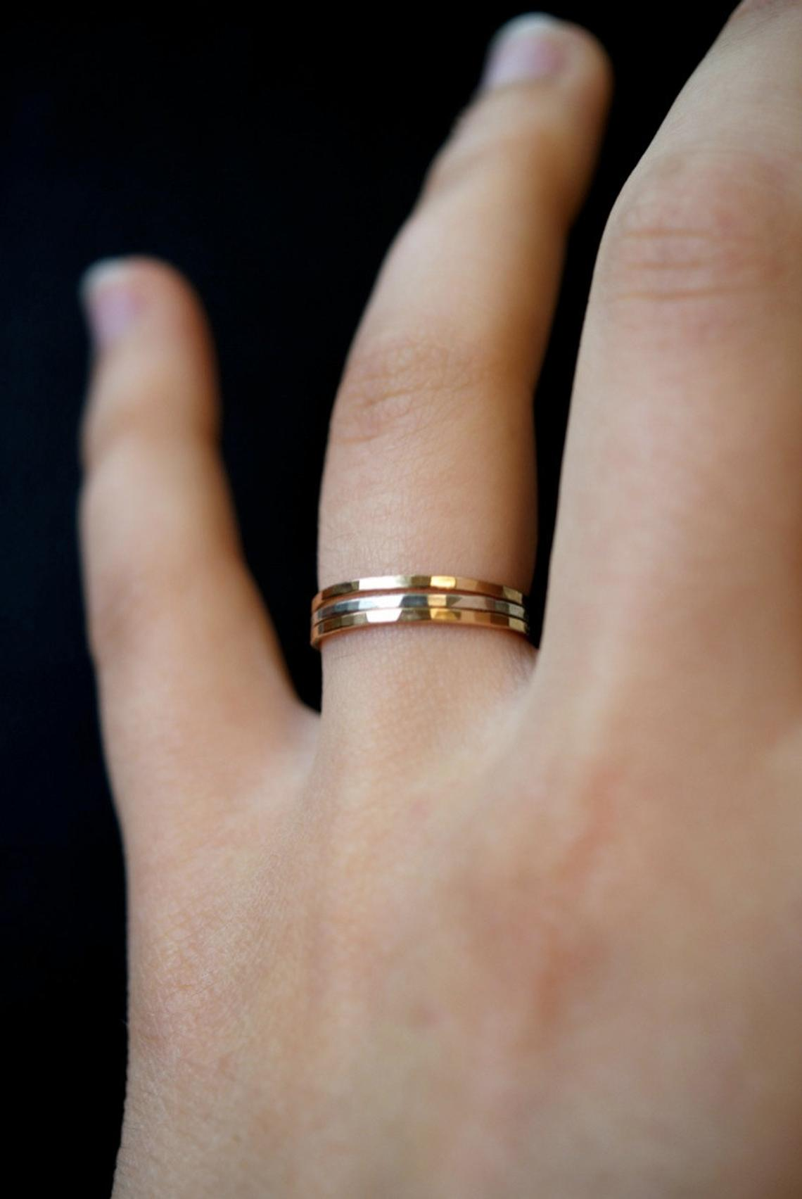 Sterling Silver/&Gold Filled Ring Set|Set of 3 Rings|Mixed Metal Ring Set|Minimalist Rings|Gold Filled Rings|