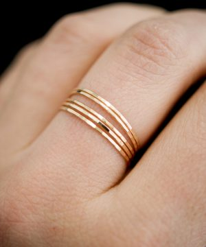 ultra thin set of 5 smooth gold rings