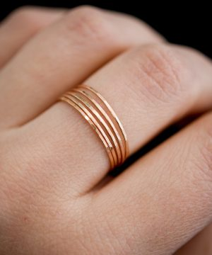 ultra thin set of 5 rings in rose gold fill