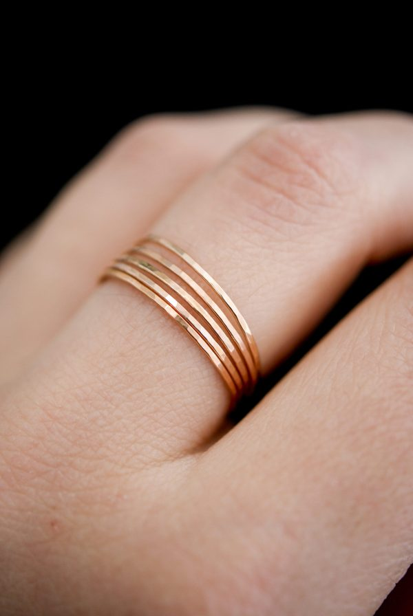 hammered ultra thin set of 5 rings in gold