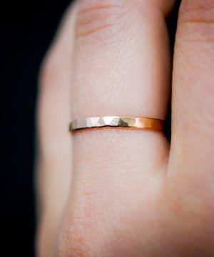 rose gold Extra Thick Rings Hammered Finish