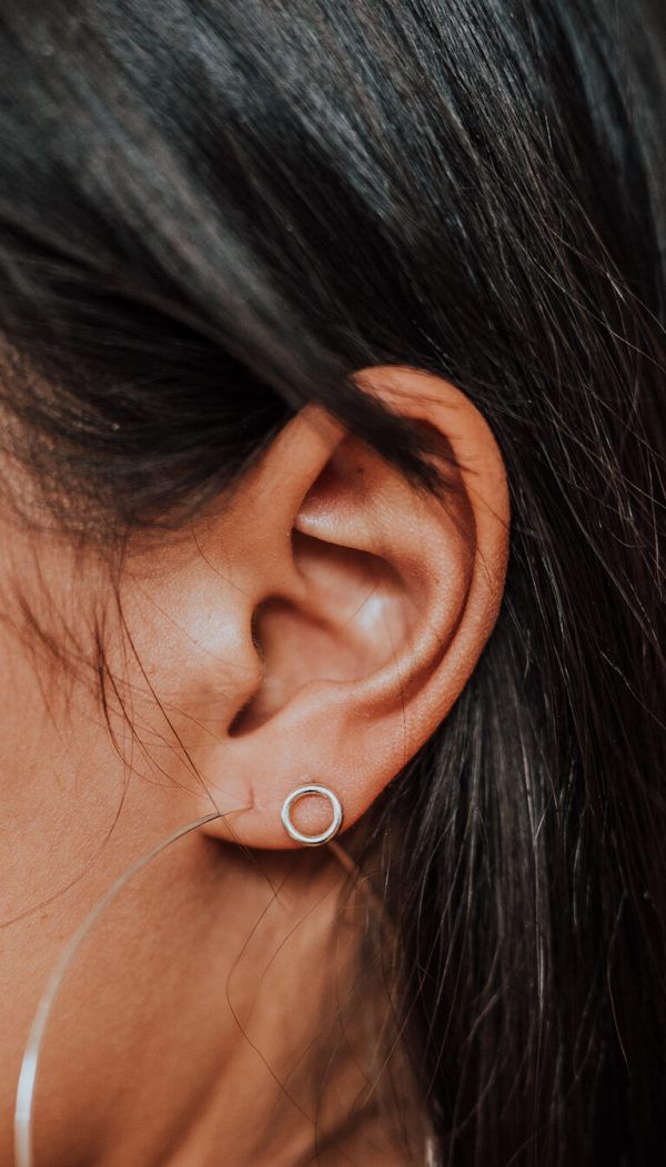 Circle Studs in Silver - Product Image