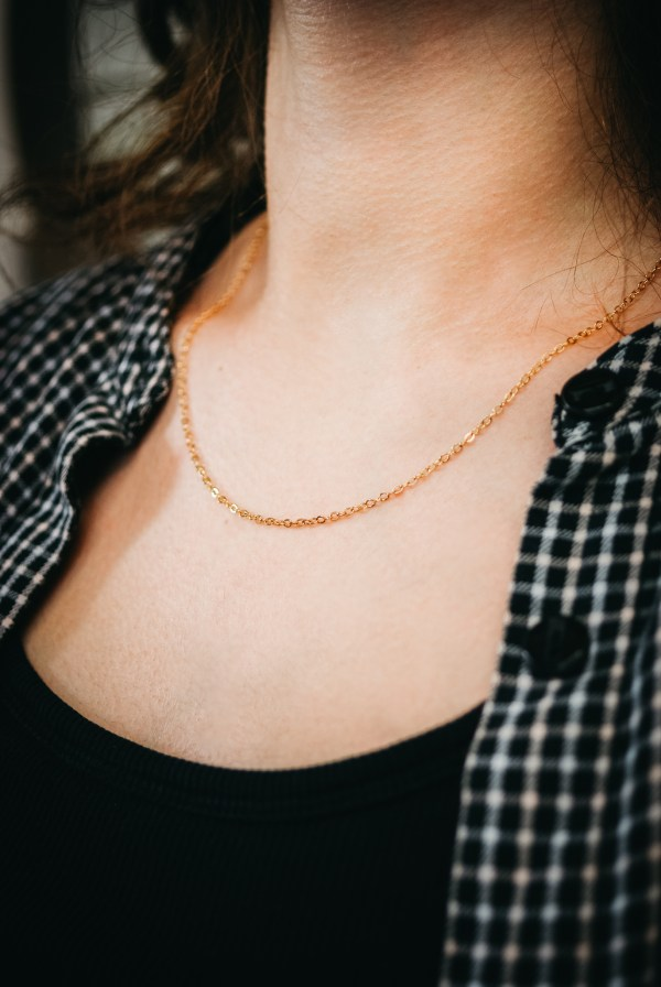 thick rose gold layering necklace