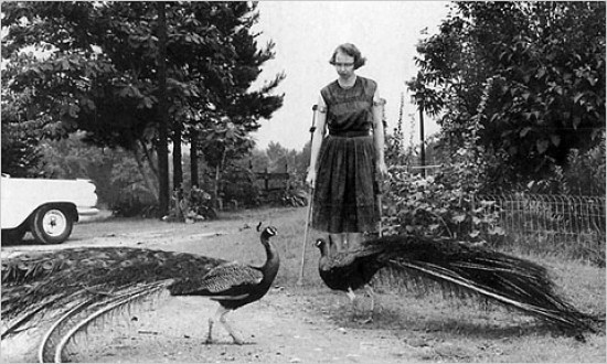 Flannery O'Connor with her peacocks