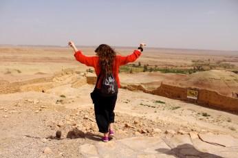 Natalia on the top of Ait Ben Haddou