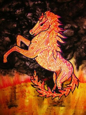 The Fire Horse by Hannah Sterry. An illustration of a rearing stallion on the surface of a flame-covered sun!